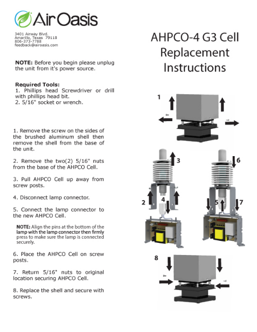 Air Oasis Ahpco Cell Replacement Instructions